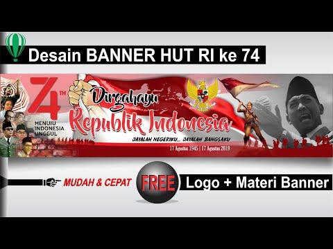 Desain Spanduk Banner Hut Ri Ke 74 2019 Sampai Siap Cetak Tutorial Coreldraw Youtube