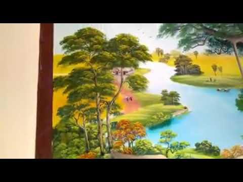 Vẽ tranh tường phong cảnh làng quê Việt xưa tại Gia Lâm, Hà Nội – Vẽ tranh nghệ thuật cực đẹp LH Zal