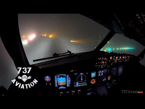 4K ILS Cat II  - Boeing 737 night landing in dense winter fog