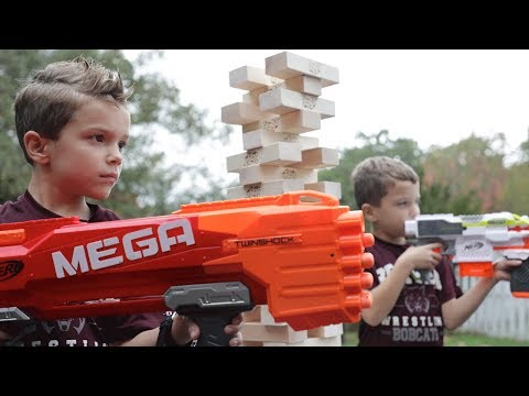 Nerf War:  The Tower of Jenga