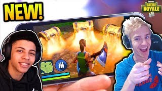NINJA AND MYTH REACT TO FORTNITE ON PHONES! NEW MOBILE FORTNITE! Fortnite FUNNY Moments!