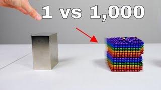 1 Giant Monster Neodymium Magnet vs 1,000 Small Neodymium Magnets in Slow Motion