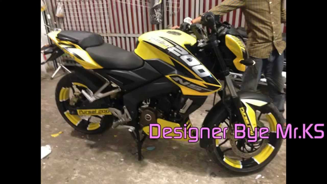 Bike stickering designs for pulsar 150 - Pulsar 200ns 2015 Pulsar Bajaj 200ns New Best Yellow Color Motorcycle Youtube