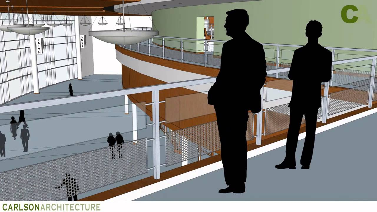 Carlson architecture church auditorium design youtube for Balcony models