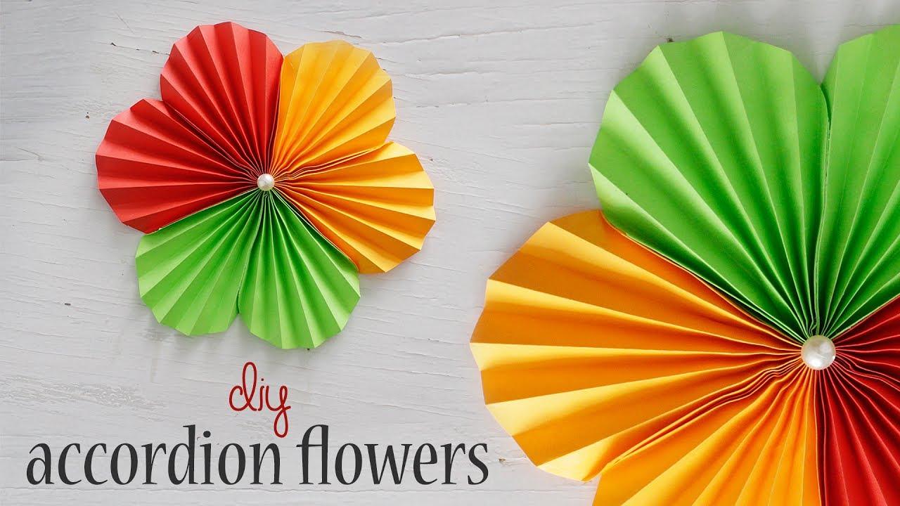 Diy Accordion Flower Youtube