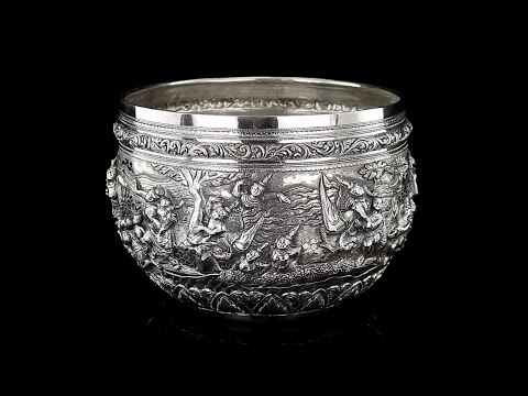 ANTIQUE 20thC BURMESE SOLID SILVER THABEIK BOWL, RANGOON, TIGER MARK c 1900