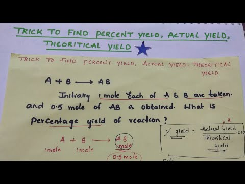 💁Trick to Find Percent yield, Actual yield,Theoritical