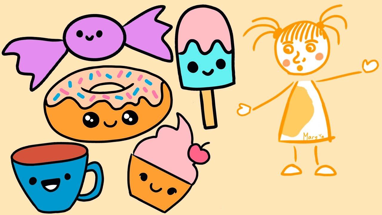 Легкие картинки для срисовки еда и напитки