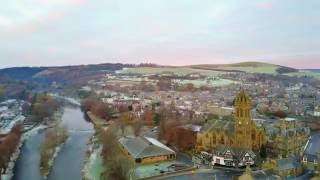 A short Flight around Peebles Town Centre on a cold November Morning 4K HD