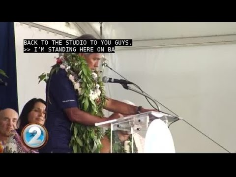 Pwo navigator Nainoa Thompson addresses the attendees celebrating the homecoming of Hōkūle'a.