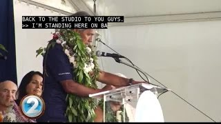 Pwo navigator Nainoa Thompson addresses the attendees celebrating the homecoming of Hōkūle'a.