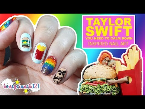 Taylor Swift - You Need To Calm Down Inspired Nail Art | Honeycrunch321