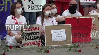 Germany: Dozens rally in central Berlin decrying Belarus presidential election results