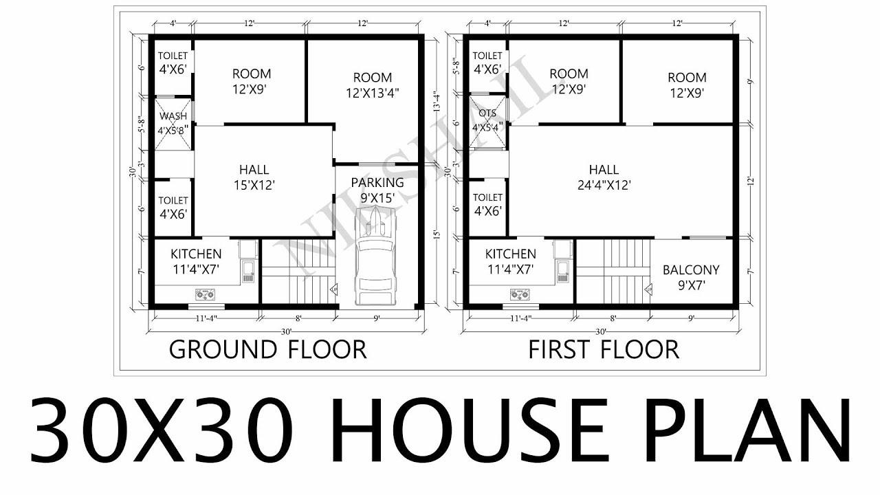 30x30 House Plan 2d Map By Nikshail