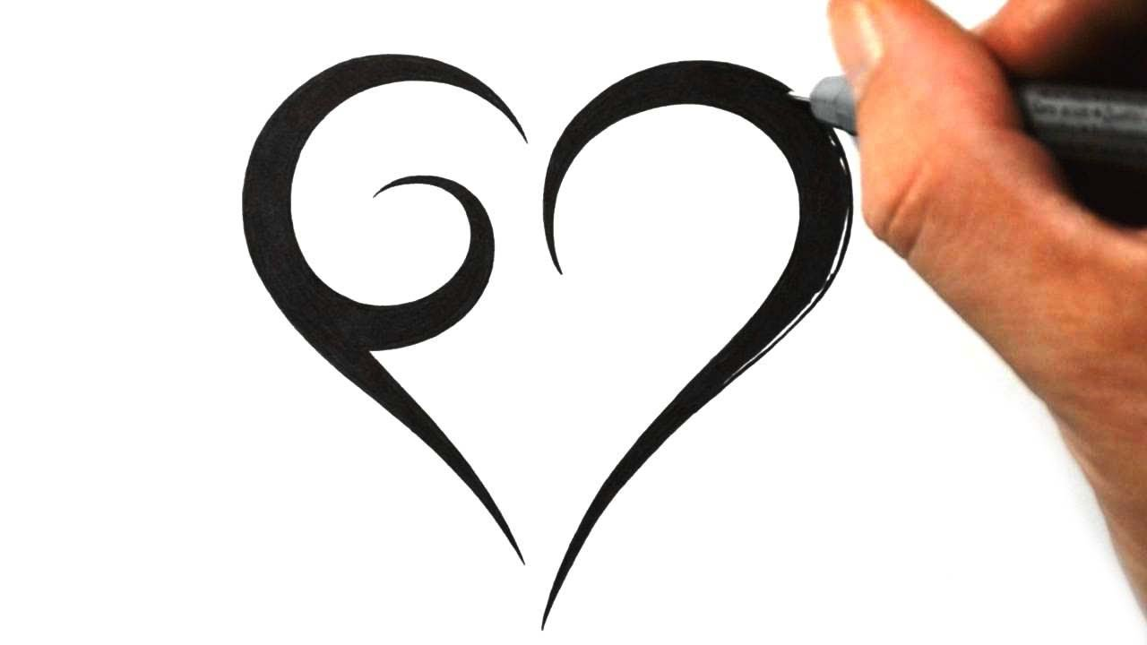 How To Draw A Simple Tribal Heart Tattoo Design 1 Youtube