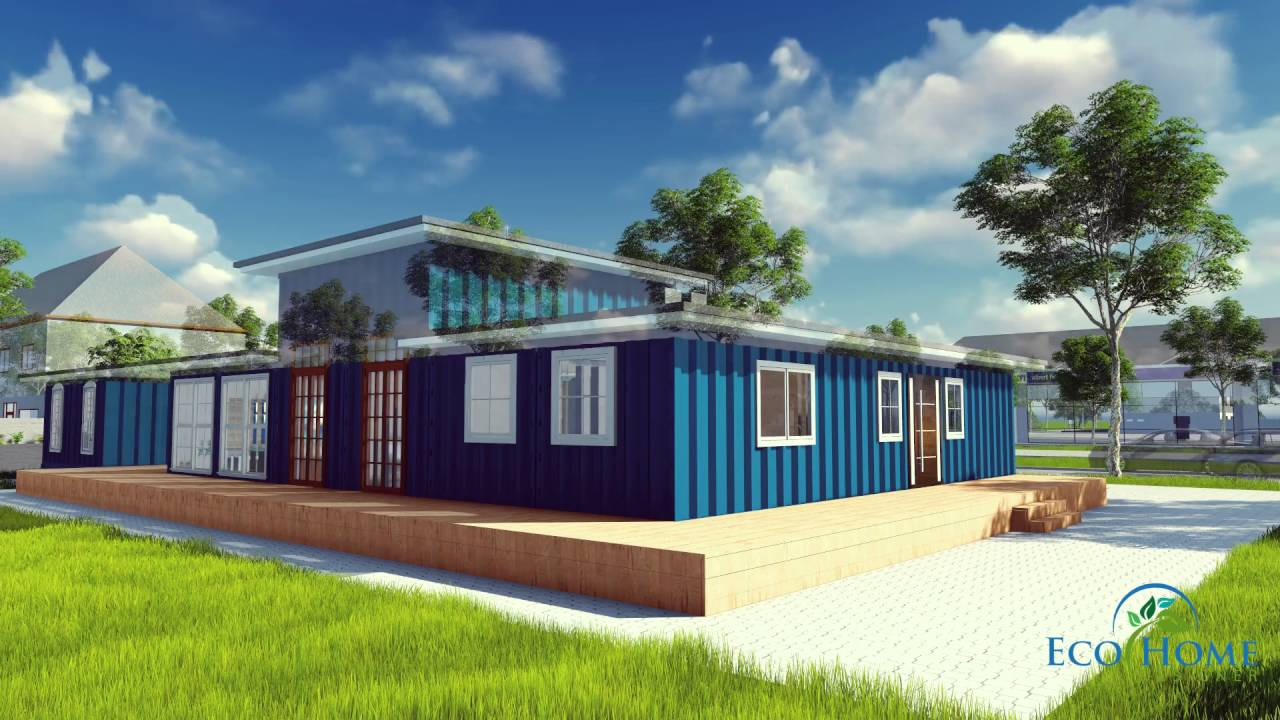 SCH9 Blue Shipping Container House - Andejong Design - YouTube