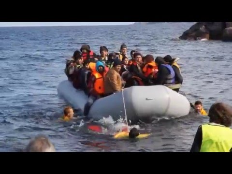 Getting the Babies off the Refugee Boats - Lesbos Greece