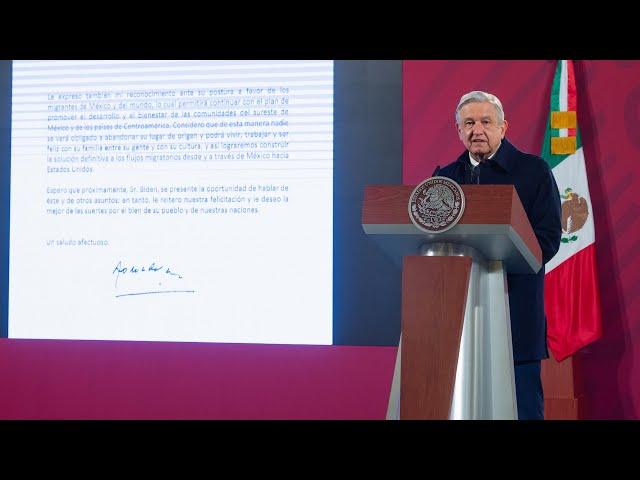 Felicitación al presidente electo de los EE. UU., Joe Biden. Conferencia presidente AMLO