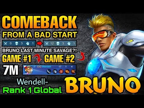 Bruno Double MVP Plays - Top 1 Global Bruno Wendell- - Mobile Legends
