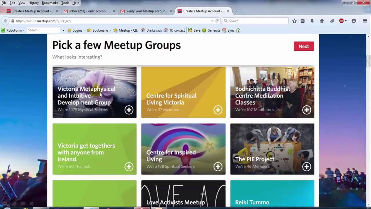 How to sign up for Meetup for CIL