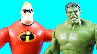 Incredibles 2 Mr. Incredible Teams Up With Hulk & Imaginext Joker Turns Giant From Slime