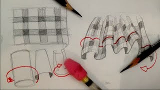 How to draw plaid pattern clothing, fabric, drapery and folds