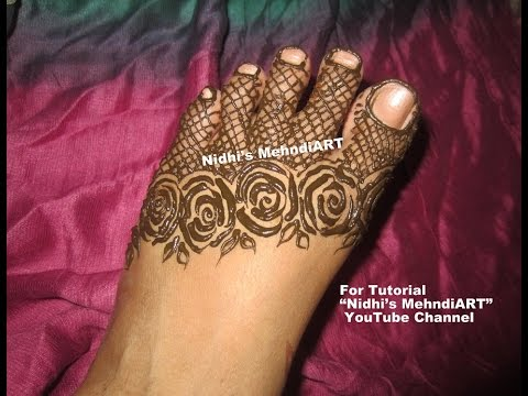 Mehndi Designs Feet N : Beautiful roses flower strip henna mehndi design for feet youtube