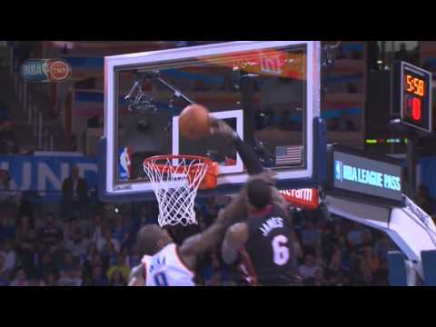 Lebron James dunks on Serge Ibaka after getting hit on the nose
