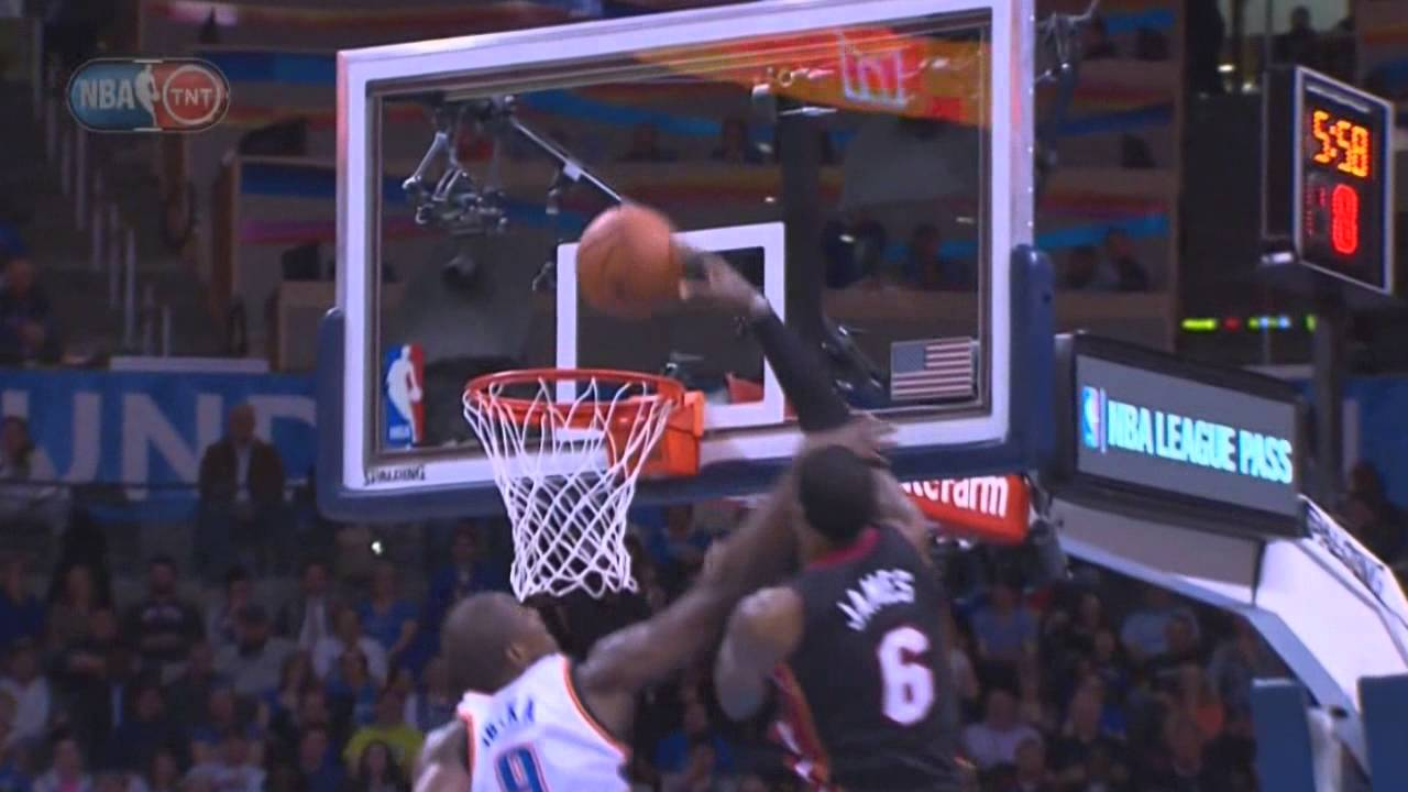 Lebron James Dunks On Serge Ibaka After Getting Hit On The Nose Youtube