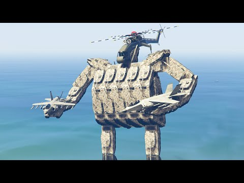 GIGANTIC ROBOT MOD! (GTA 5 Mods Funny Moments)