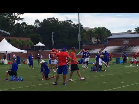 Florida's QBs and WRs in individual drills Thursday