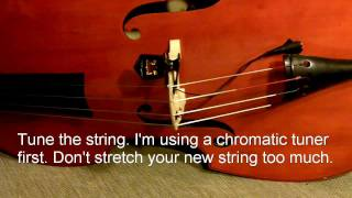 how to change strings on a upright double bass