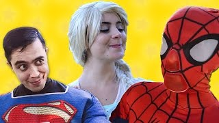 Spiderman and Superman free Elsa from a Cage - Superhero Friends & Villains