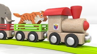 Trains for children. Educational cartoons for babies 1 year. Learn wild animals with a ZOO train