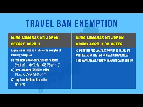 What Is The Details Of Travel Ban Advisory & Quarantine In Japan (in Tagalog)?
