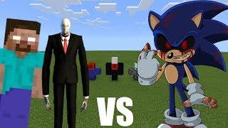 SLENDERMAN & HEROBRINE VS SONIC.EXE in Minecraft PE