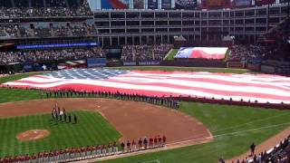 texas rangers opening day 2009 national anthem and b1 bomber flyover