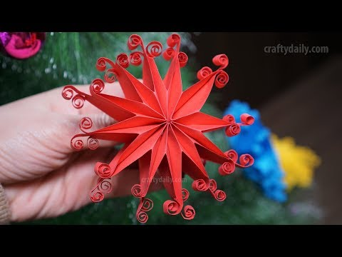 3D Quilling Paper Star for Christmas Decorations | 3D Paper Snowflakes and Christmas DIY Crafts
