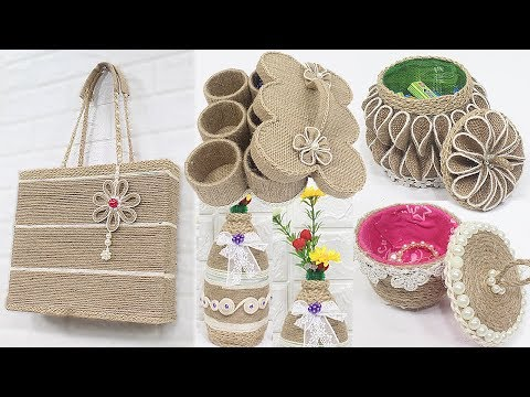 5 Jute craft ideas | Jewelry storage box, Bag