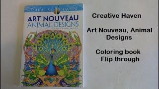 Art Noveau animal Designs Coloring book Flip Thru