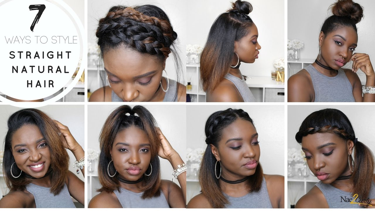 7 styles for straight natural hair - youtube