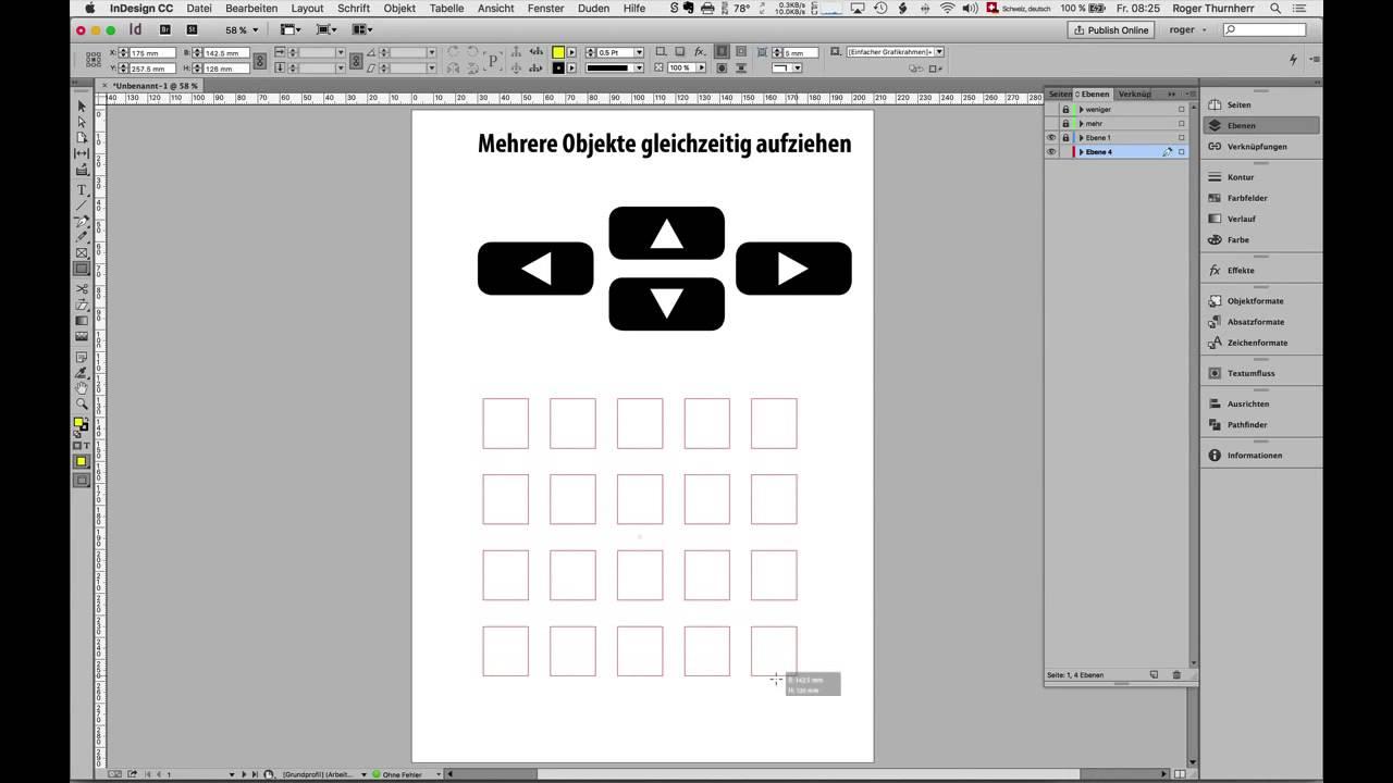 InDesign – Mehrere Objekte aufziehen - YouTube