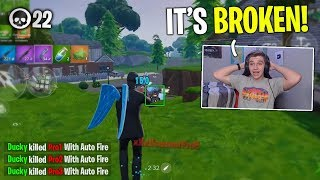 I won a game of Fortnite Mobile ONLY USING AUTO FIRE! (basically aimbot)