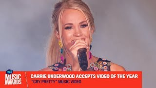 """Carrie Underwood Accepts Video of the Year for """"Cry Pretty""""    2019 CMT Music Awards"""