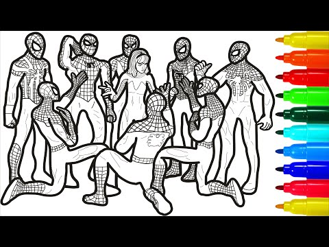 Spiderman Team Of Heroes Coloring Pages Spiderman Colouring Pages For Kids Youtube