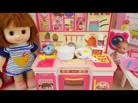 Thumbnail: Baby doll kitchen and refrigerator cooking food toys play