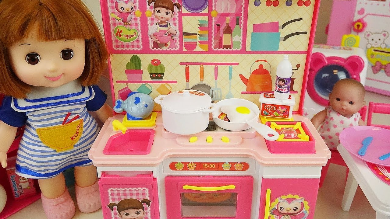 Baby doll kitchen and refrigerator cooking food toys youtube for Kitchen set for babies