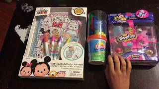 Shopkins toy review playing with play doh and showing my tsumtsum notebook