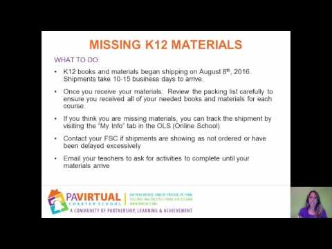 What to do if Missing K12 Materials and Issues with Classes or Schedule    Orientation   Amy Markle