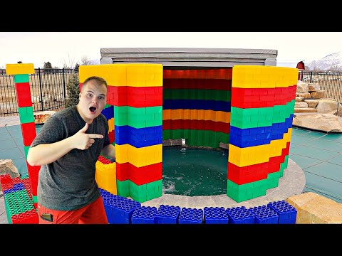 24 Hours in a GIANT LEGO Hot Tub!